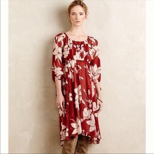 Anthropologie Maeve Laelia Midi Floral Dress Sz 0